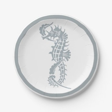 Beach Themed Blue and White Seahorse Logo Paper Plate