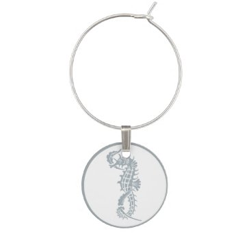 Blue and White Seahorse Logo Wine Glass Charm