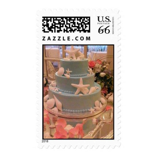 Blue and White Seashell Wedding Cake Stamp stamp