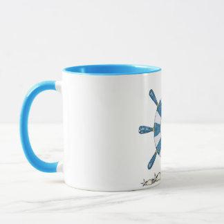 Blue and White Ship's Wheel Mug