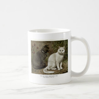Blue and White Short Haired Cats Artwork Coffee Mug
