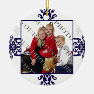Blue and White Silver Damask Photo Double-Sided Ceramic Round Christmas Ornament