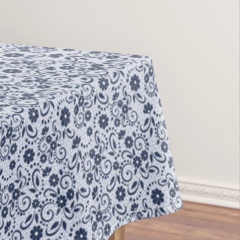 Blue and white simple swirly floral tablecloth