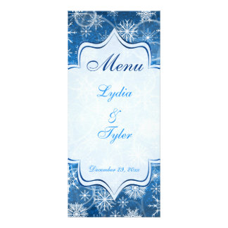 Blue and White Snow Flakes Wedding Menu Card Rack Card