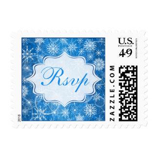 Blue and White Snow Flakes Wedding RSVP Postage