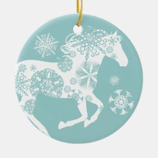 Blue and White Snowflake Christmas Horse Ceramic Ornament