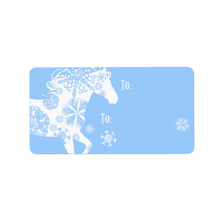 Blue and White Snowflake Christmas Horse Label