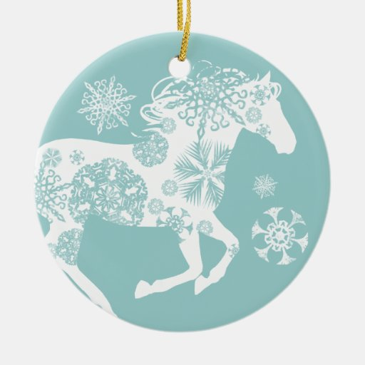 Blue and White Snowflake Christmas Horse Christmas Ornaments