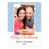 Blue and White Snowflake Christmas Photo Card