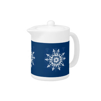 Blue and White Snowflake Container