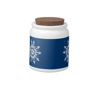 Blue and White Snowflake Container Candy Dishes