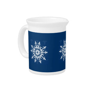 Blue and White Snowflake Container Pitcher