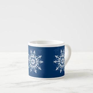 Blue and White Snowflake Container 6 Oz Ceramic Espresso Cup