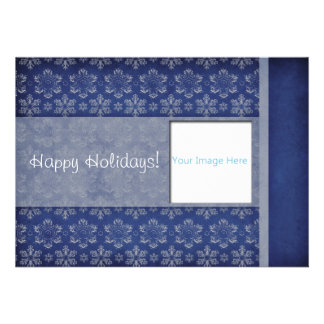 Blue and White Snowflake Damask Photo Holiday Card Personalized Invites