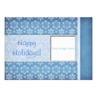 Blue and White Snowflake Damask Photo Holiday Card Invitations