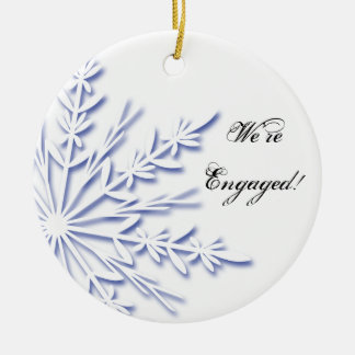 Blue and White Snowflake Engagement Ceramic Ornament