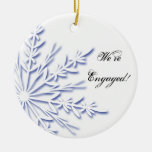 Blue and White Snowflake Engagement Ornament