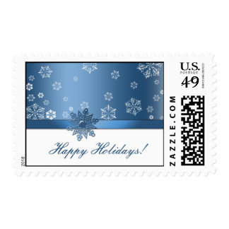 Blue and White Snowflake Happy Holidays Postage