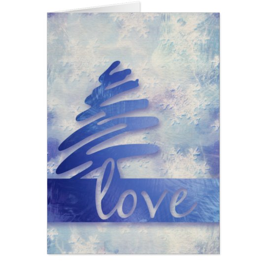 "Blue and White Snowflake ""Love"" Holiday Card"