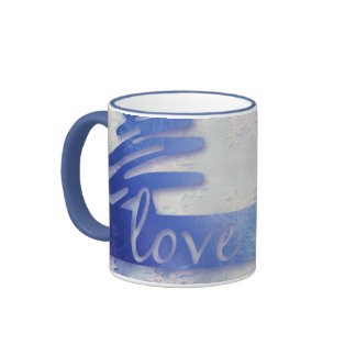"Blue and White Snowflake ""Love"" Holiday Mug"