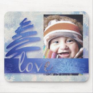 "Blue and White Snowflake ""Love"" Photo Mousepad"