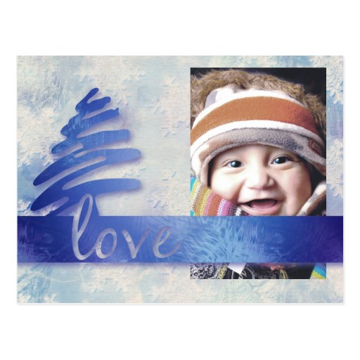 "Blue and White Snowflake ""Love"" Photo Postcard"