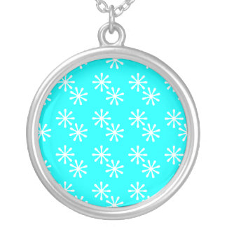 Blue and White Snowflake Necklace
