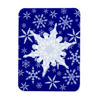 Blue and White Snowflake on Snowflake Blizzard Magnet