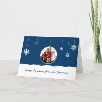 Blue and White Snowflake Ornament Photo