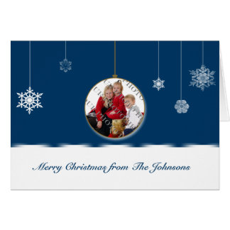 Blue and White Snowflake Ornament Photo Greeting Card