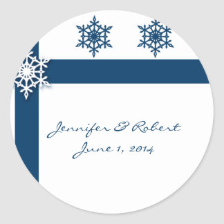 Blue and White Snowflake Stickers