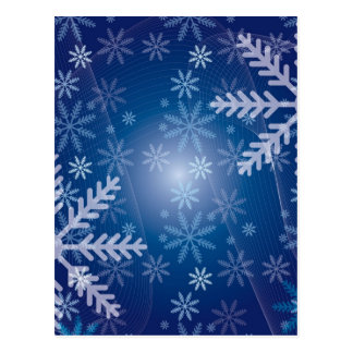 Blue and White Snowflake Winter Print Postcard