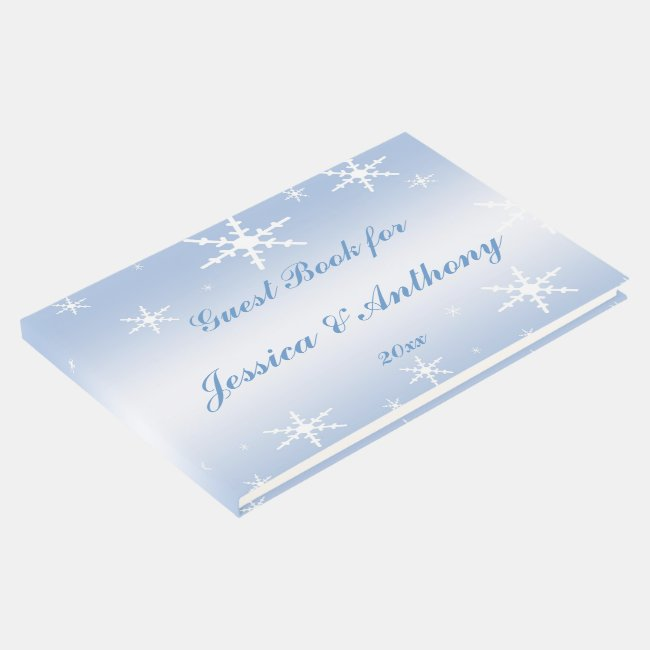 Blue and White Snowflake Winter Wedding Guest Book