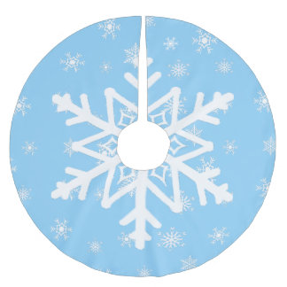 Blue and White Snowflakes Christmas Tree Skirt