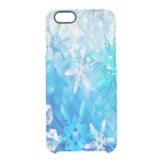 Blue and White Snowflakes Clear iPhone 6/6S Case