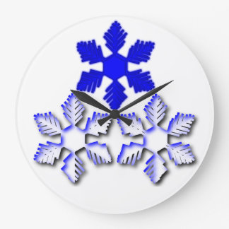 Blue and white Snowflakes Clock