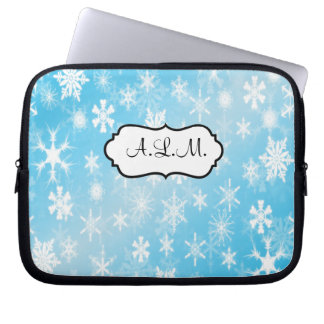 Blue and White Snowflakes Laptop Sleeve