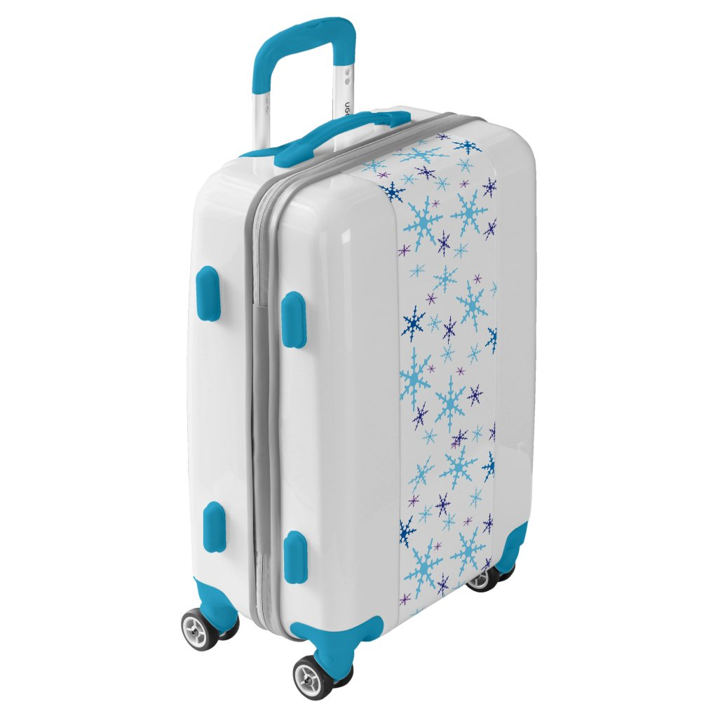 Blue and White Snowflakes Luggage