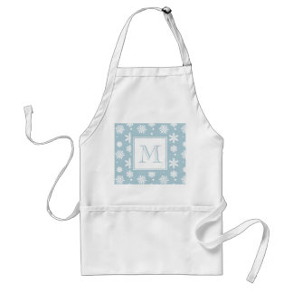 Blue and White Snowflakes Pattern 1 with Monogram Adult Apron