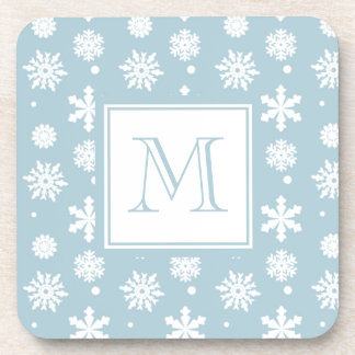 Blue and White Snowflakes Pattern 1 with Monogram Beverage Coaster
