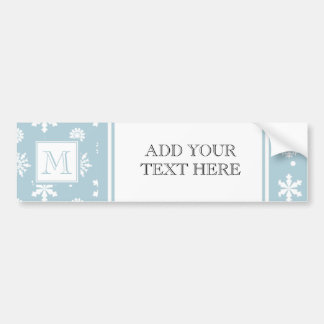 Blue and White Snowflakes Pattern 1 with Monogram Bumper Sticker