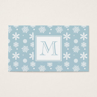 Blue and White Snowflakes Pattern 1 with Monogram Business Card