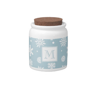Blue and White Snowflakes Pattern 1 with Monogram Candy Jars