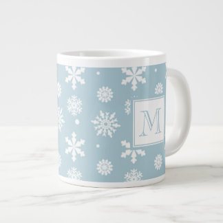 Blue and White Snowflakes Pattern 1 with Monogram Giant Coffee Mug