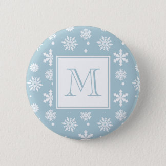 Blue and White Snowflakes Pattern 1 with Monogram Pinback Button