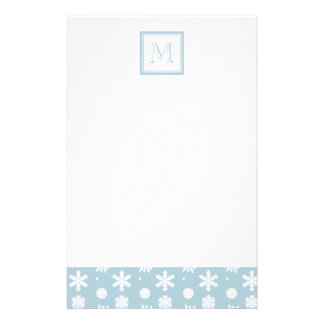 Blue and White Snowflakes Pattern 1 with Monogram Custom Stationery