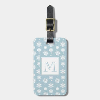 Blue and White Snowflakes Pattern 1 with Monogram Tag For Luggage