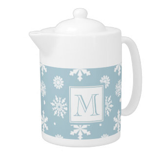 Blue and White Snowflakes Pattern 1 with Monogram Teapot