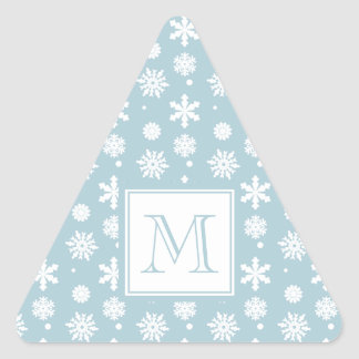 Blue and White Snowflakes Pattern 1 with Monogram Triangle Sticker