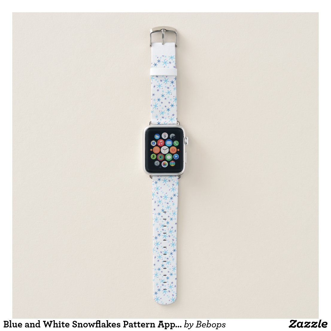 Blue and White Snowflakes Pattern Apple Watch Band